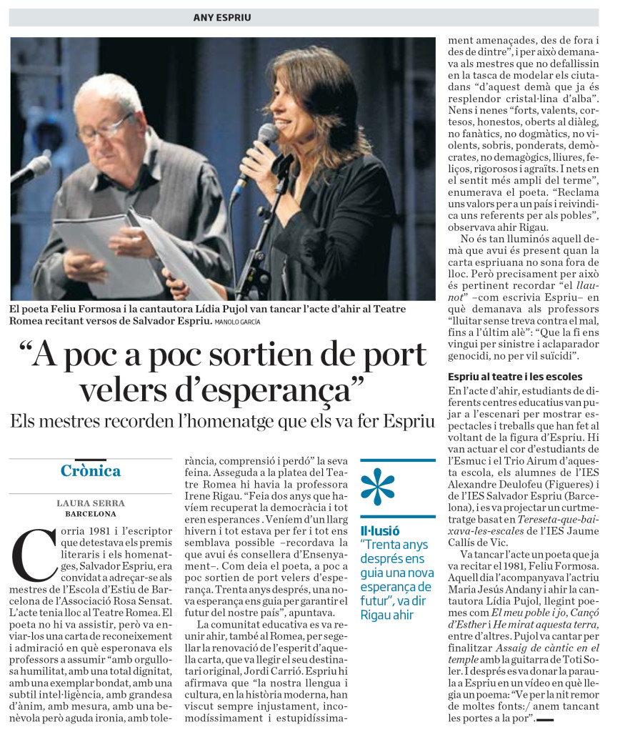 ara_cronica S Espriu i els mestres